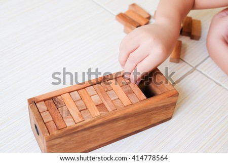 Wood block Stack tower game for children playing
