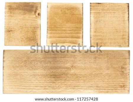 Wood blocks and plank, isolated - stock photo