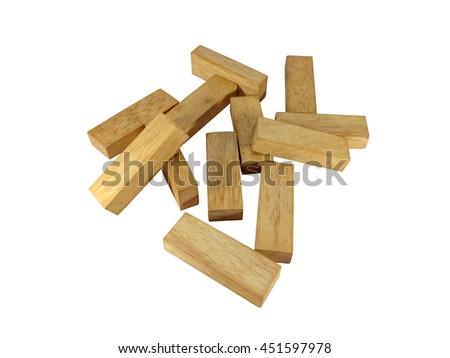 wood blocks game on white background