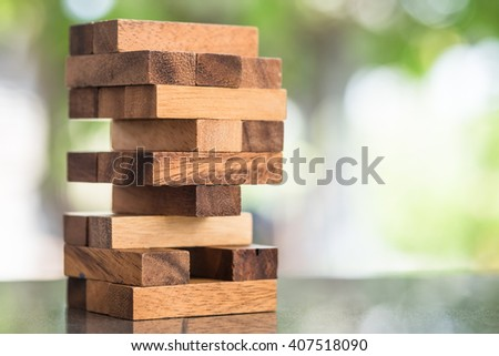 Wood blocks stack game, background concept - stock photo
