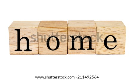 wood blocks with home word on white