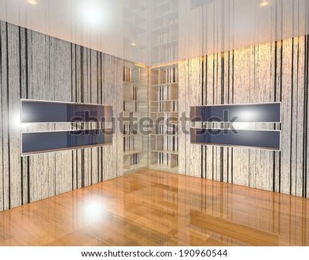 Wood Blue book Shelf on Corner in empty room with wooden floor - stock photo