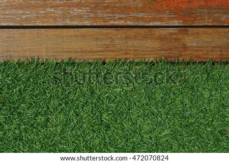 wood board and grass background