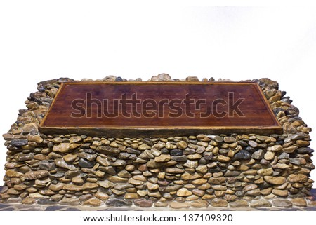 wood board on stone with sky background - stock photo
