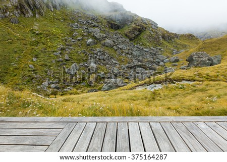 wood board with alpine view in New Zealand