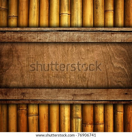 wood board with bamboo - stock photo
