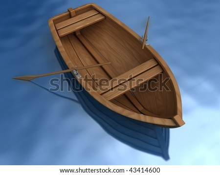 Wood boat on blue water - stock photo