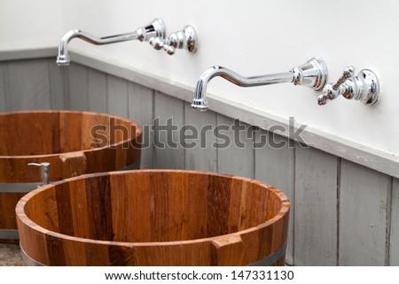 wood bowl hand wash basin - stock photo