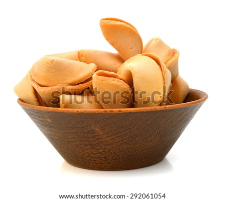 wood bowl of Fortune Cookies with blank slip on White with a Clipping Path - stock photo