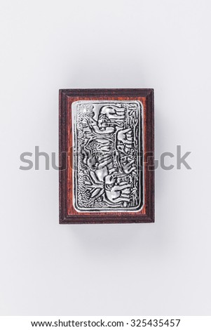 wood box carved on white background