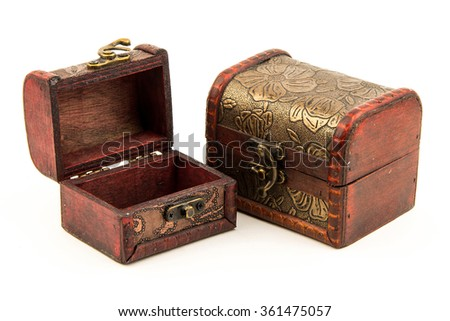 wood box empty isolated on white background / old fashion small box to collect treasure. a container craft by wood, metal and leather.