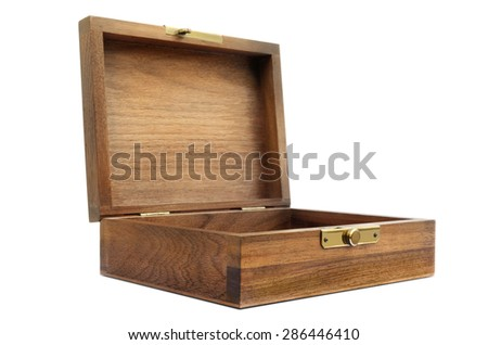 Wood Box Front Diagonal View - stock photo