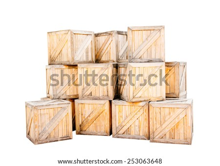 wood box isolated with clipping path - stock photo