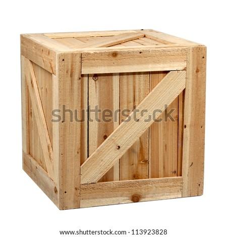 wood box white background  isolated - stock photo