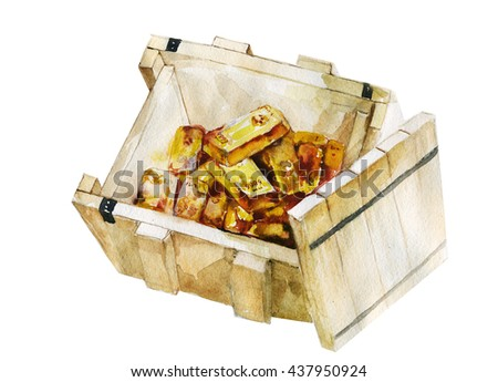 wood box with gold bars