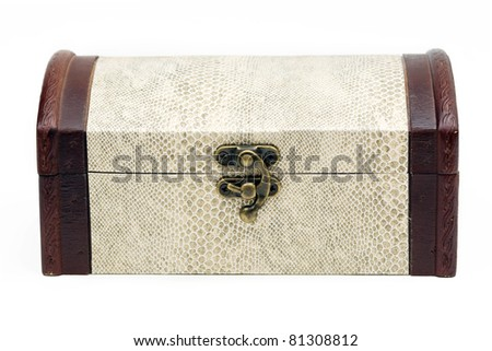wood box  with snake skin - stock photo