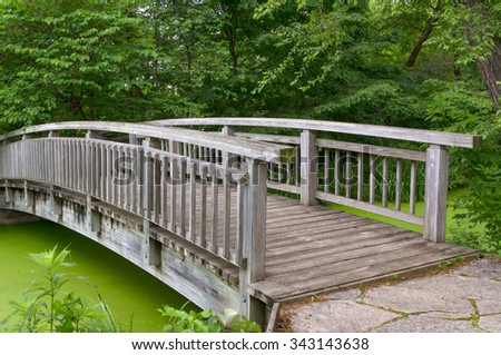 Wood bridge over green pond in summer. - stock photo