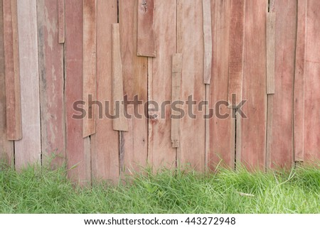 wood brown plank texture background with grass