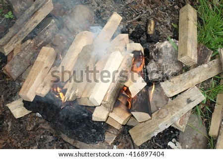 Wood burning in fire - stock photo