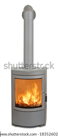 Wood burning in heater - stock photo