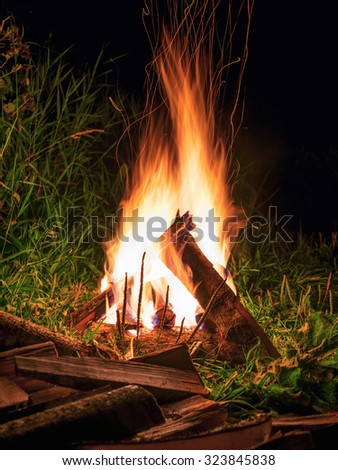 Wood burning in the fire at night - stock photo