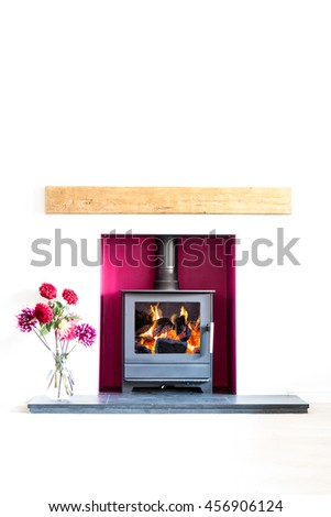 Wood burning stove, with blazing log fire, in a magenta coloured recess in a white room with a vase of dahlia flowers. High key