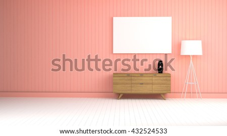 Wood Cabinet Pink Wall Living Room Stock Illustration 432524533 ...