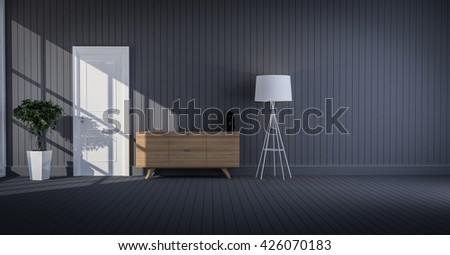 wood cabinet in wood wall living room 3d rendering