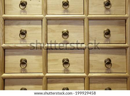Wood Card File Cabinet Drawers,Elegant interiors - stock photo