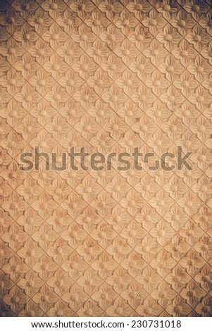 wood carve texture of the temple wall - stock photo