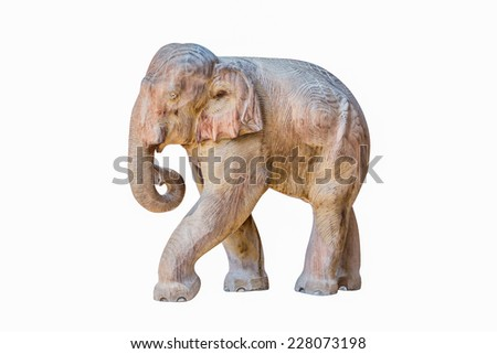 Wood carving elephant  in isolate on white. - stock photo