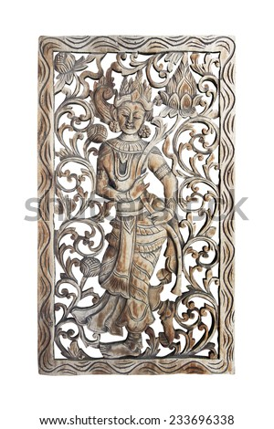 Wood carving in a thai temple, Wood carving Buddhist - stock photo