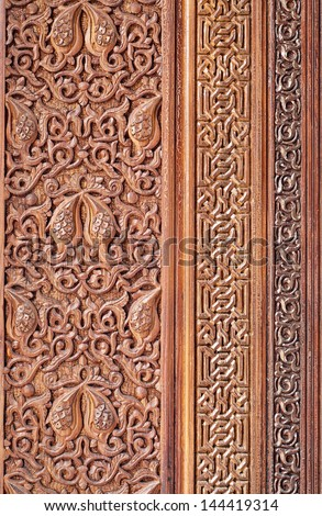 Wood carving of geometry pattern of Islamic architecture - stock photo