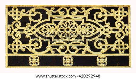 Wood carving or stucco for Thai temple windows. - stock photo
