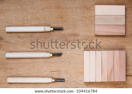 Wood carving tools - stock photo