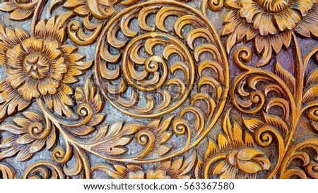 furniture motifs. Wood Carvings, Floral Mean In Northern Thailand. Ancient Motifs Are Used To Decorate Furniture R