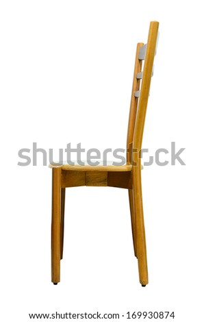 Wood chair isolated on white background - stock photo