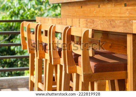 Wood Chairs and bar.