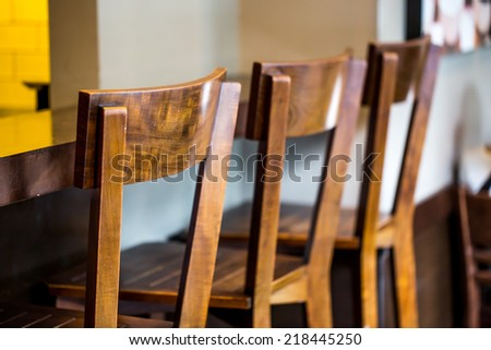 Wood Chairs and counters - stock photo