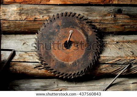 Wood chips and disk circular saw.