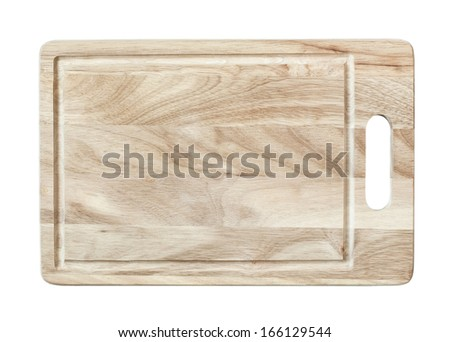 Wood chopping block isolate on white