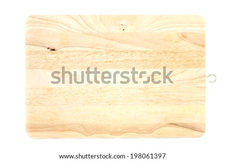 wood chopping board on white background