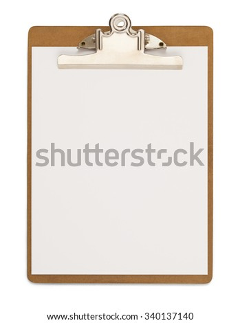 Wood Clipboard with Blank Paper Isolated on a White Background. - stock photo