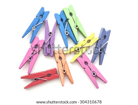 wood clothes pin colorful  - stock photo