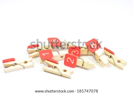 wood clothes pin colors with numbers - stock photo