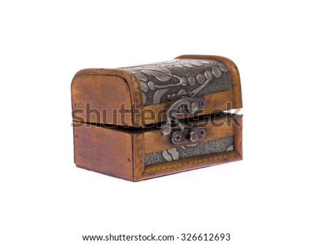 wood coffer isolated on white background