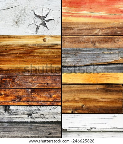 Wood collage, different colors and texture, nature background - stock photo