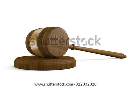 Wood court gavel and striking block on white background - stock photo