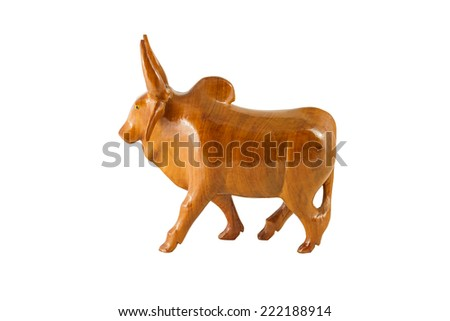wood cow on the white background
