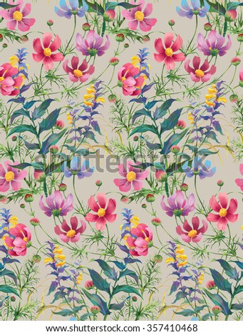 Wood Cow-wheat and Cosmos flowers. Floral composition. Seamless background pattern version 5